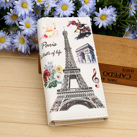Women Wallets Lady Purses Paris Tower Pattern Moneybags Girls Handbags Coin Purse Long