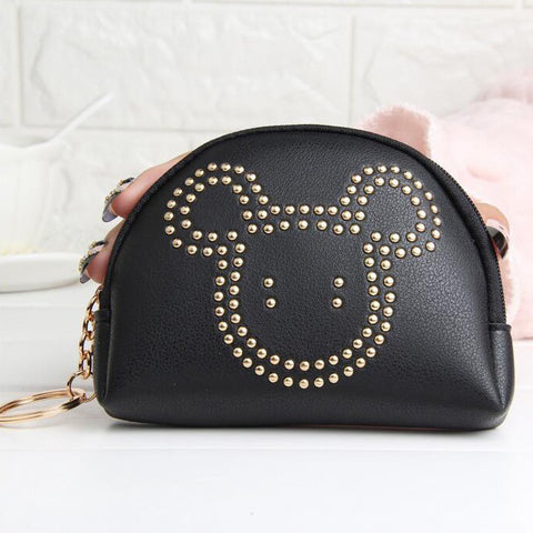 Women Wallets Moneybags Short Coin Purses Female Girls Rivets Zipper Buckle Purse Cards ID