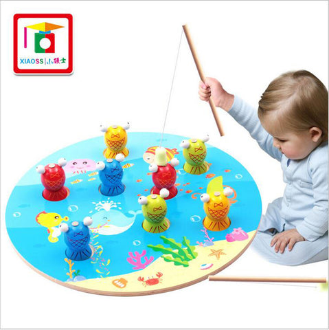 Wooden Funny Fishing Set For Children Kids Magnetic Puzzle Early Education Games