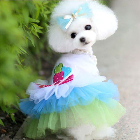 XS-XL Pet Puppy Small Dog Cat Lace Skirt Princess Dress Pet Clothes Spring Summer