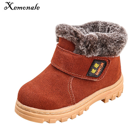 Boots for Boys Xemonale Children Boots Boys Girls Winter Snow Boots Plush Lined Cow Leather Waterproof