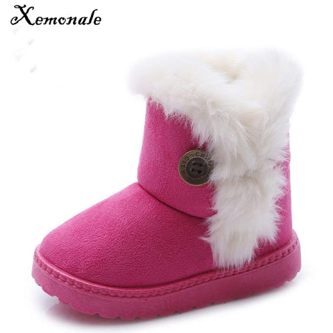 Boots for Girls Xemonale Winter Children Boots Bailey Button Thick Warm Shoes Cotton-Padded Suede Boys