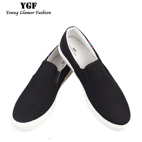YGF British Style Men Canvas Shoes Solid Round Men's Vulcanize Shoes Summer Breathable Men
