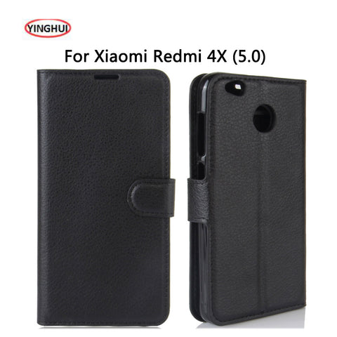 YINGHUI Luxury PU Leather Smart Flip Cover For Xiaomi Redmi 4X Case Stand Wallet For Xaomi