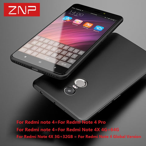 ZNP Highly quality case for Xiaomi redmi note 3 4 4X Ultra thin soft color cover cases for