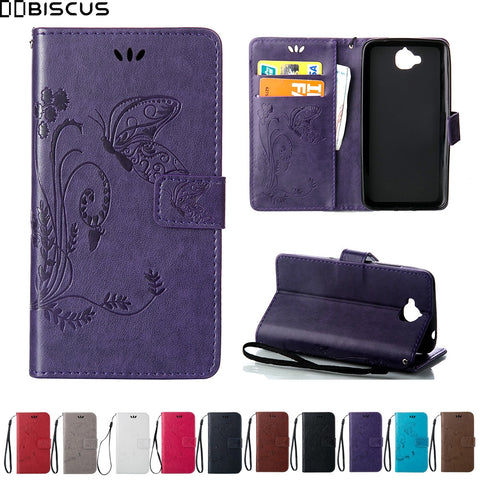 butterfly Leather Wallet Flip Cover For Huawei Y 6 Y6 Pro Y6Pro TIT-L01 TIT-U02 Case for