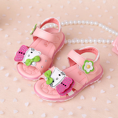 girls sandals with light summer cartoon bow fashion baby girls shoes sandals