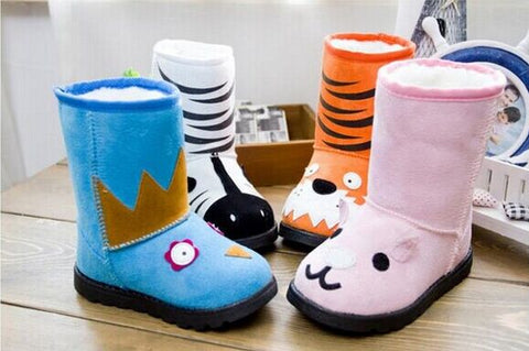 Boots for Boys girls winter shoes snow boots fashion cute cartoon animail velvet plus fur thick keep warm