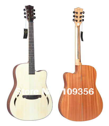 high quality F hole acoustic guitar 41inch with free accessory .