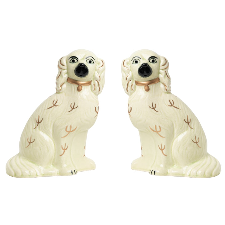 Ivory/Gold Staffordshire Dogs Porcelain Large