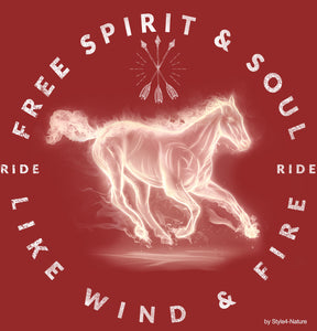 T-Shirt Ride like Wind and Fire - Free Soul & Spirit - Style4-Nature