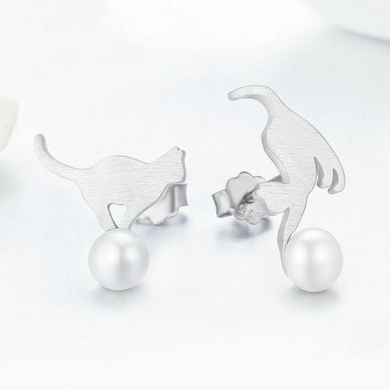 Katze mit Ball - 925 Sterling Silver & Perle - Style4-Nature