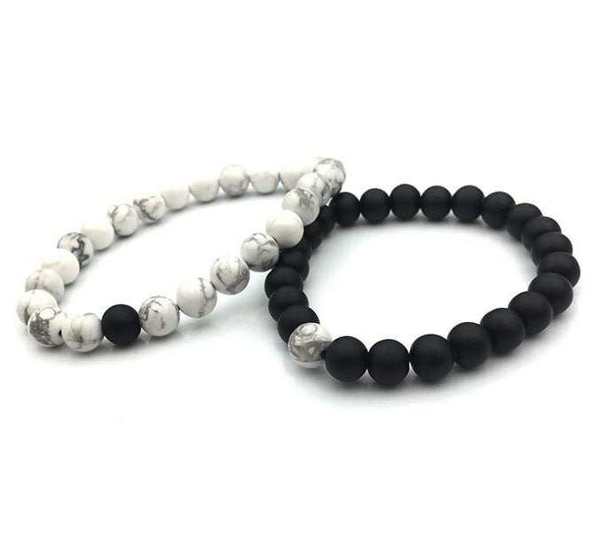 LOVERS - Long Distance Pärchen-Armband aus Achat, Onyx u. Howlit - Style4-Nature