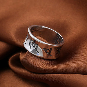 Mantra - Ring der 6 wahren Worte | pures 925 Sterling Silber - Style4-Nature