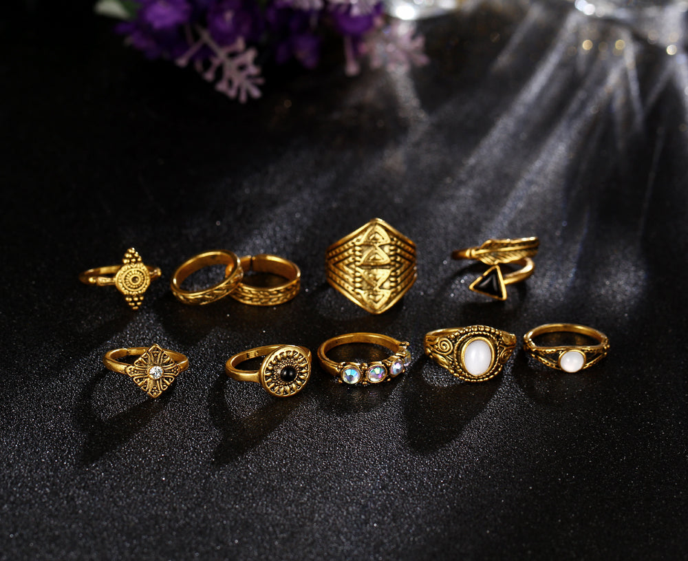 New 2017 Vintage Crystal & Opal Rings for Women 10PCS/Lot - Style4-Nature - Schmuck - Mode - Home Deko