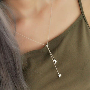 Halskette mit Mond und Stern Anhänger. Necklace with Moon and Star. Sterling Silber