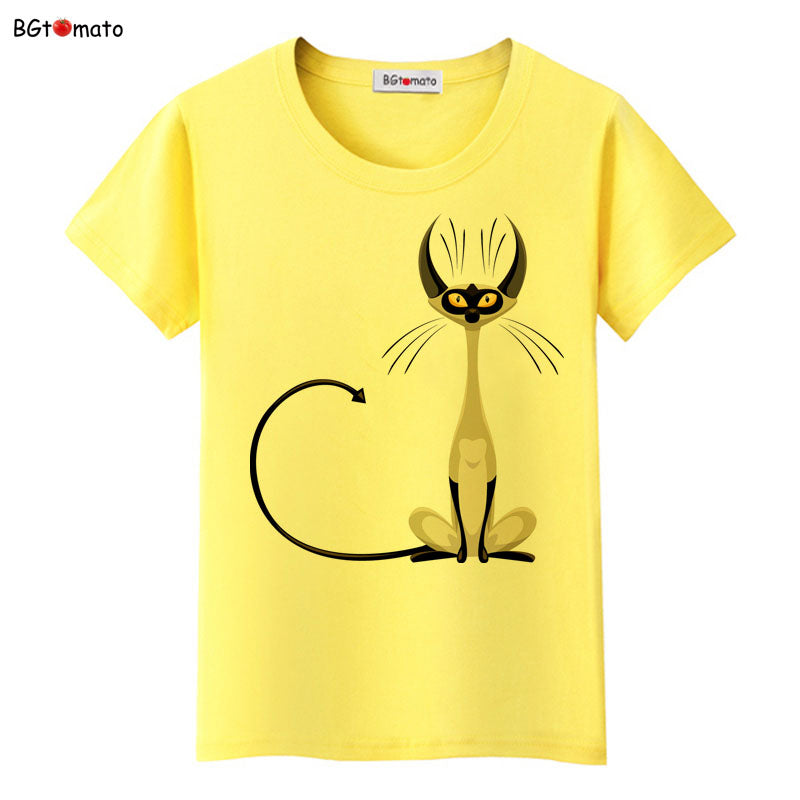 Lässiges, elegantes Katzen T-Shirt in 4 Designs für Frauen. Kitty - Style4-Nature