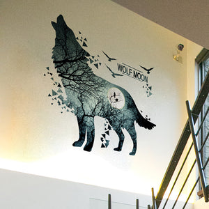 Wolf Wand Sticker. Wolf Wall Art. Wall Tattoo