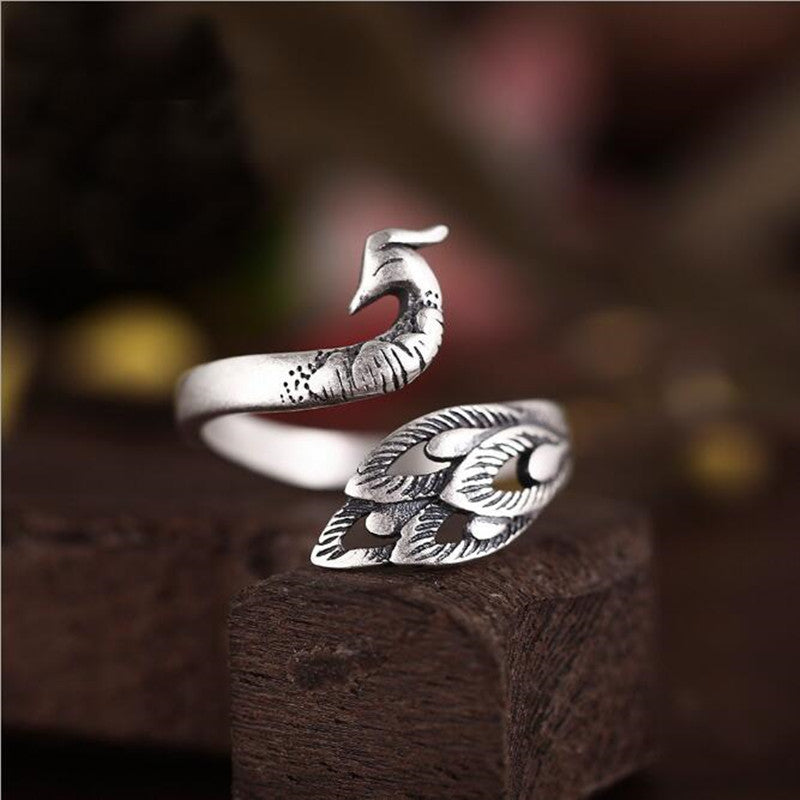 Retro Pfauen Ring in 925er Silber - Style4-Nature