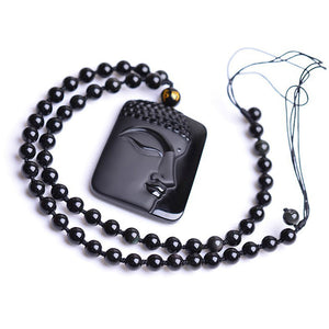 Obsidian Buddha Anhänger Kette mit Mantra - Style4-Nature
