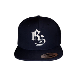 RS Logo Snapback Cap White on Navy