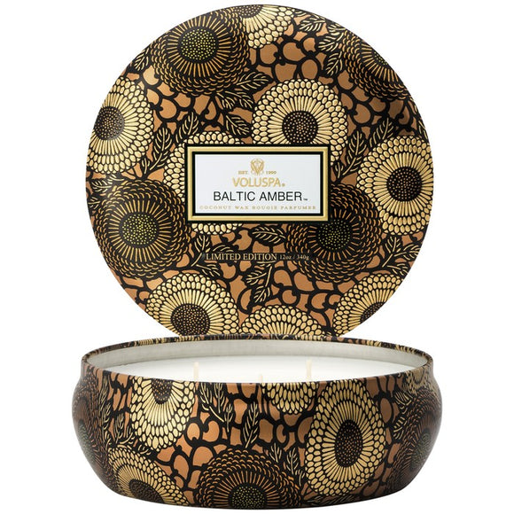 3 wick decorative tin