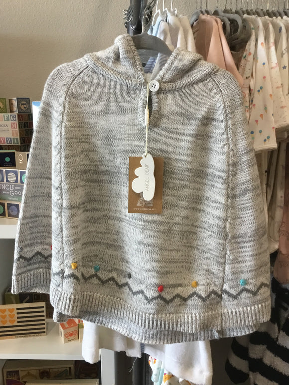 Angel Dear Pom Pom Knit Poncho Grey