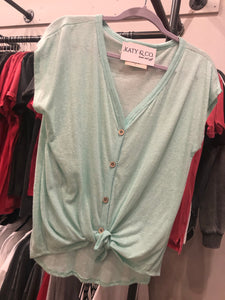 Button Top with Self Tie Front in Mint