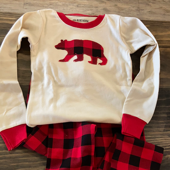 LBH Kids PJ Set - Buffalo Plaid with Bear Top (Applique)