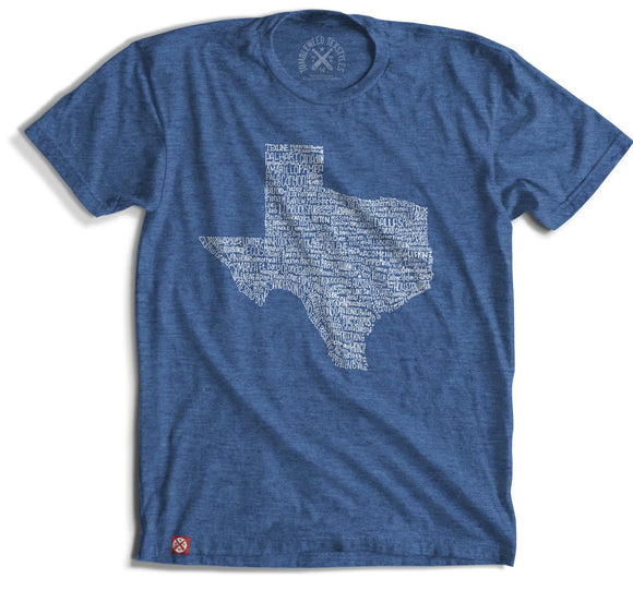 Texas Towns T-Shirt- Blue