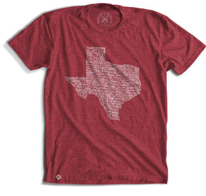 Texas Towns T-Shirt- Red