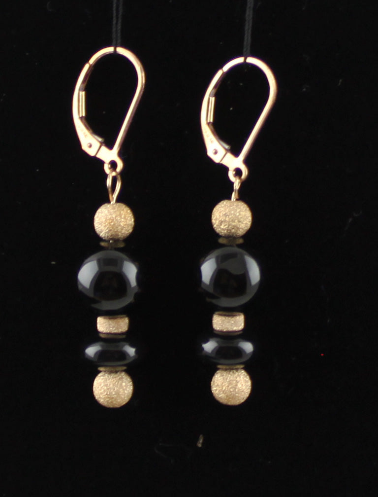 Black Onyx and 14K Rose Gold-Filled Earrings