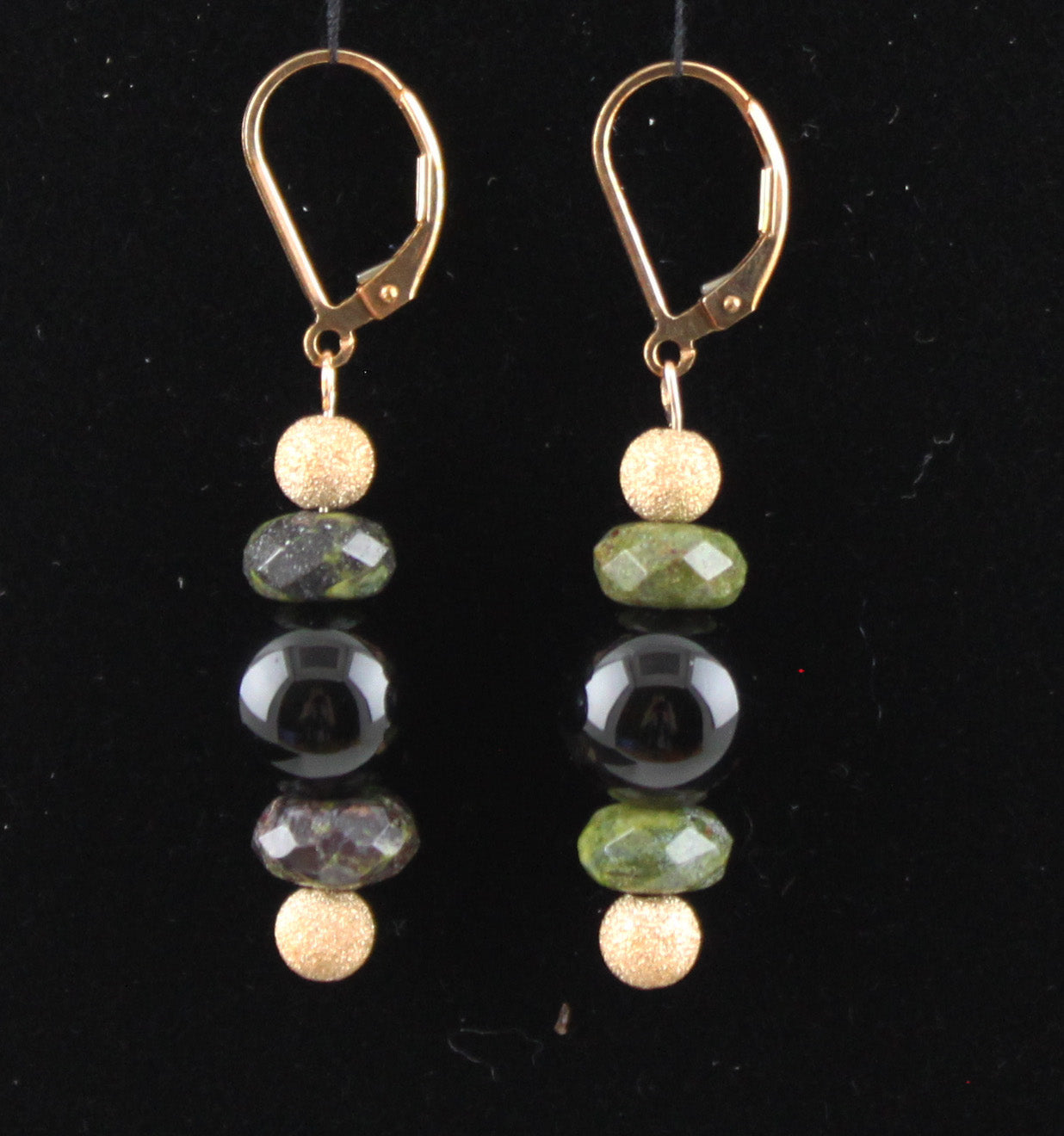 Black Onyx and Dragon Blood Jasper Earrings