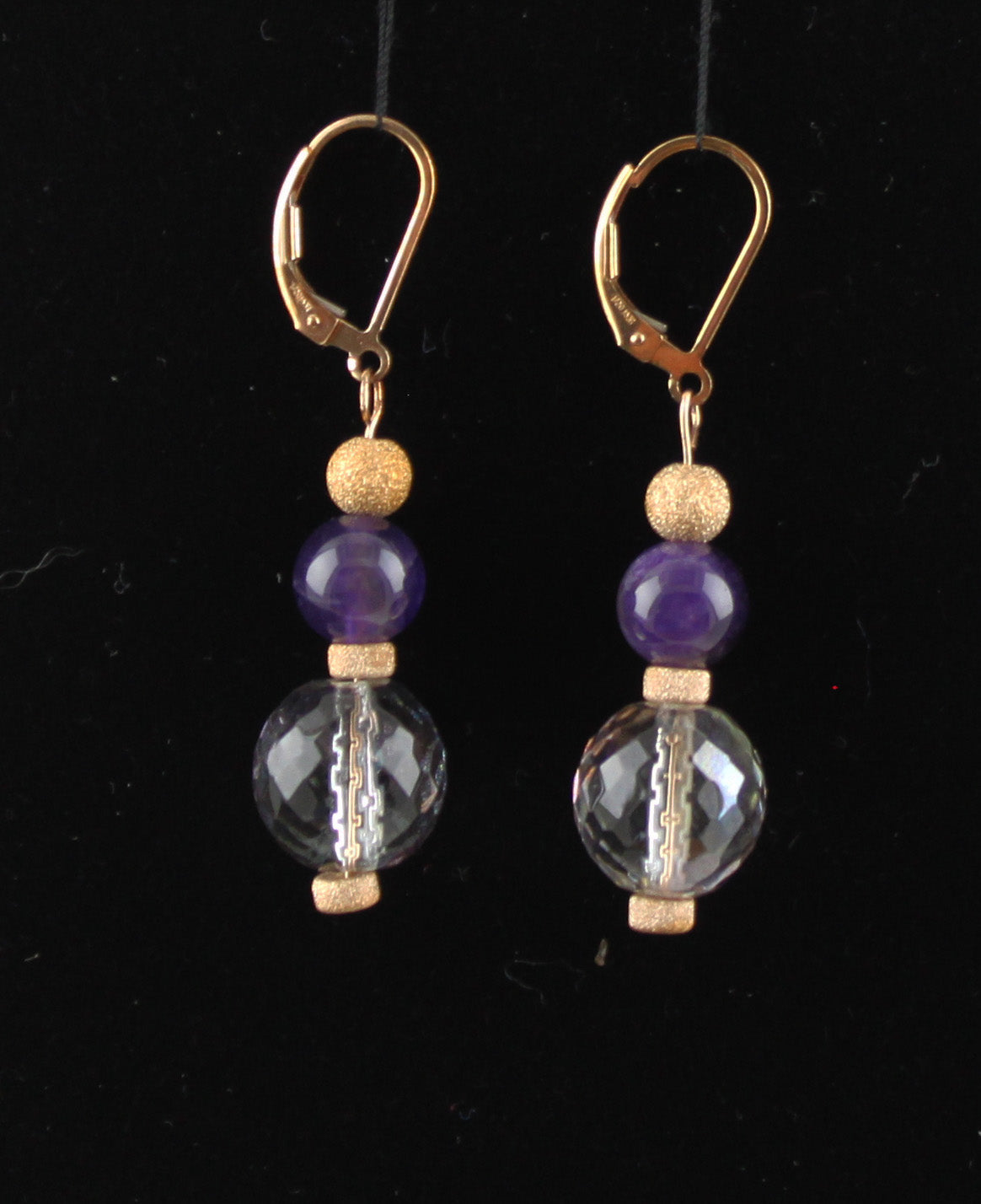 Dark Amethyst and Czech Glass Earrings