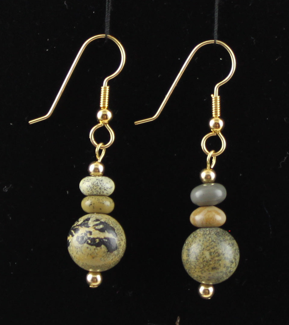 14K Gold-Filled and Artistic Stone Earrings