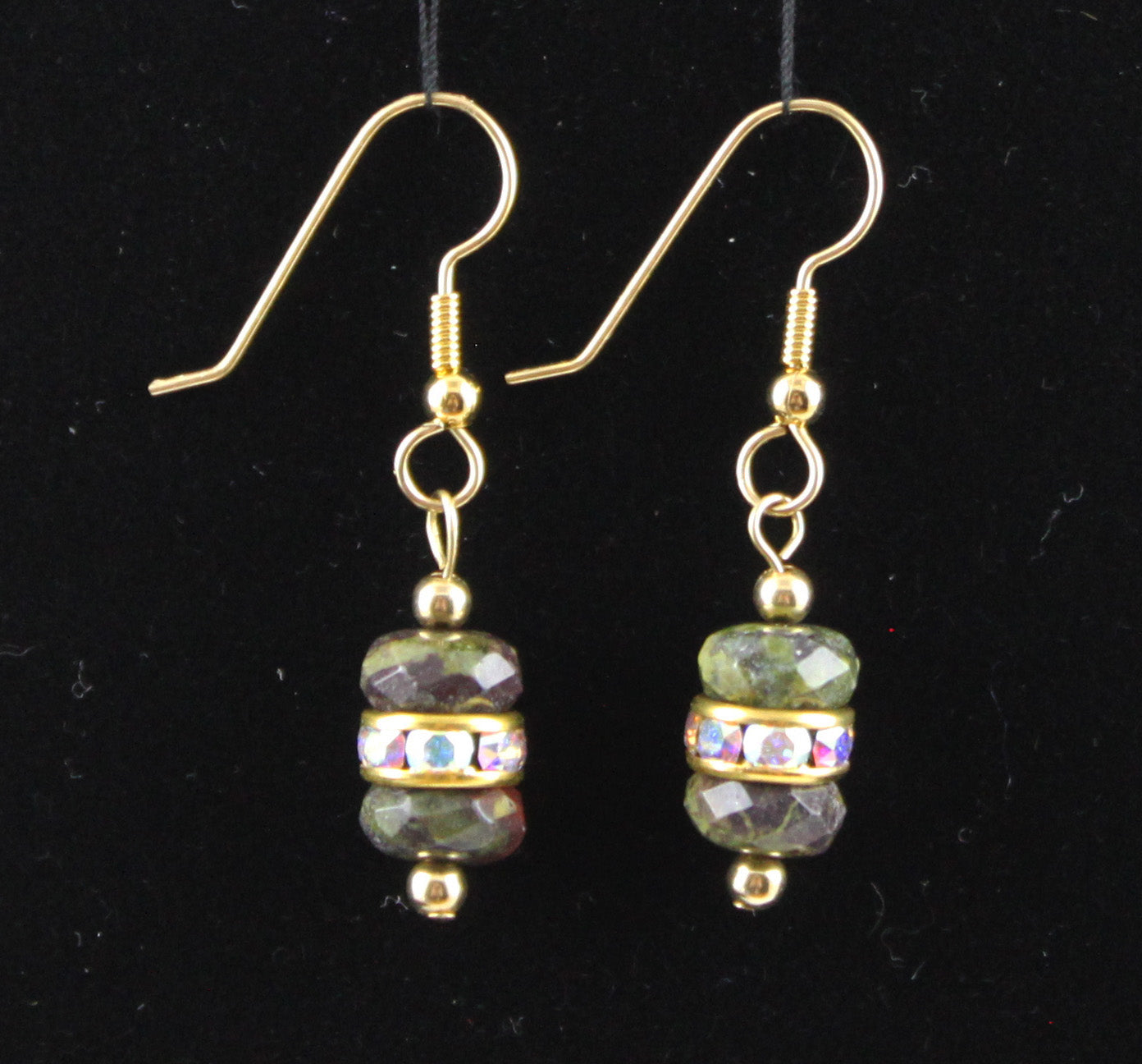 Dragon Blood Jasper and Swarovski Crystal Earrings