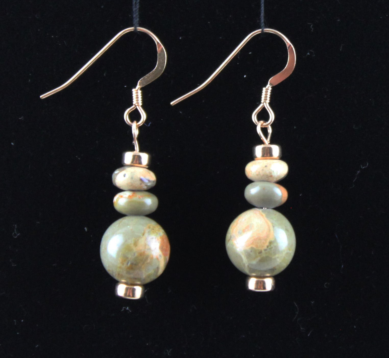 African Map Jasper and 14K Rose Gold-Filled Earrings