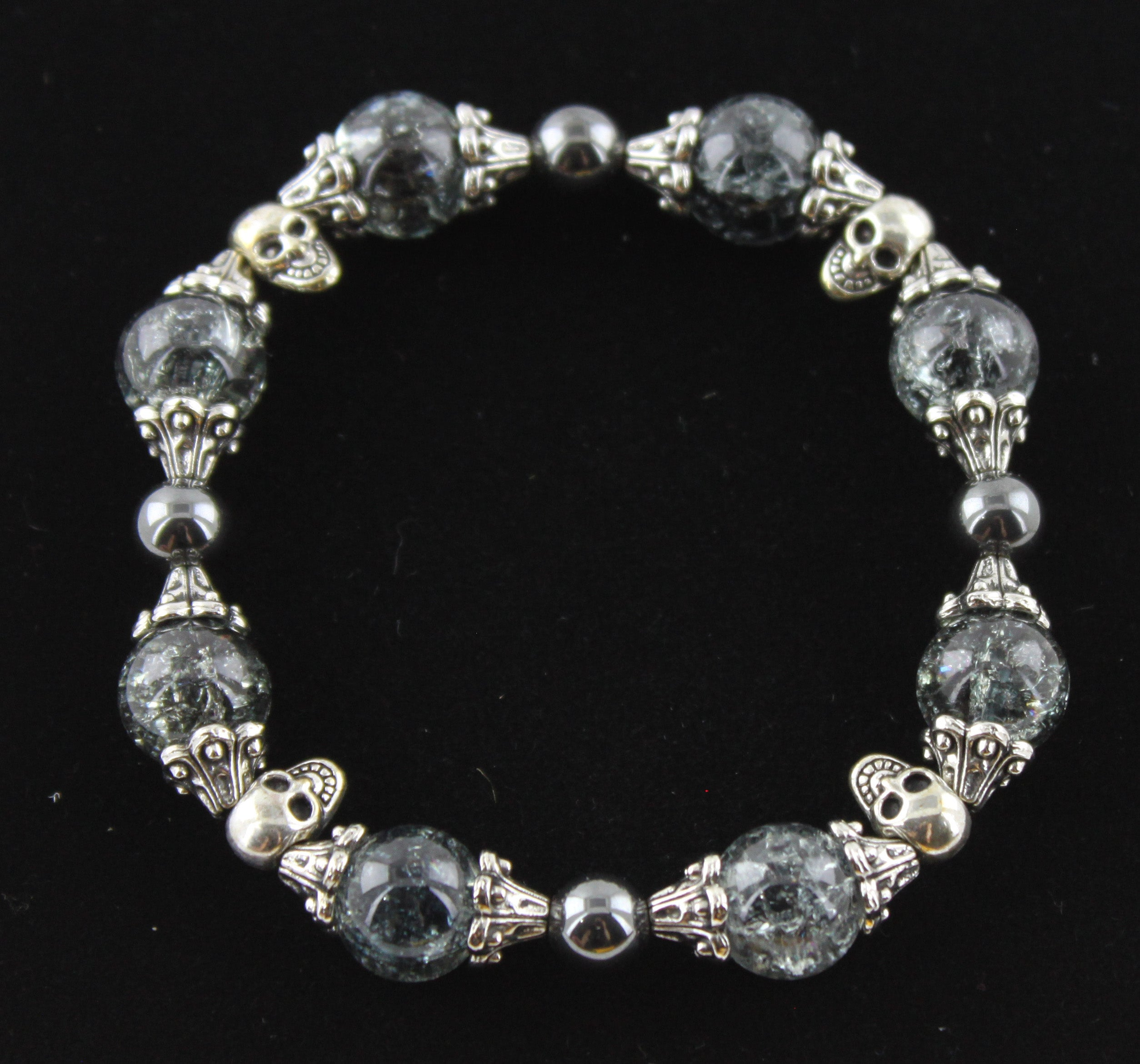 Vintage Look Cracked Glass & Silver Skull Bracelet