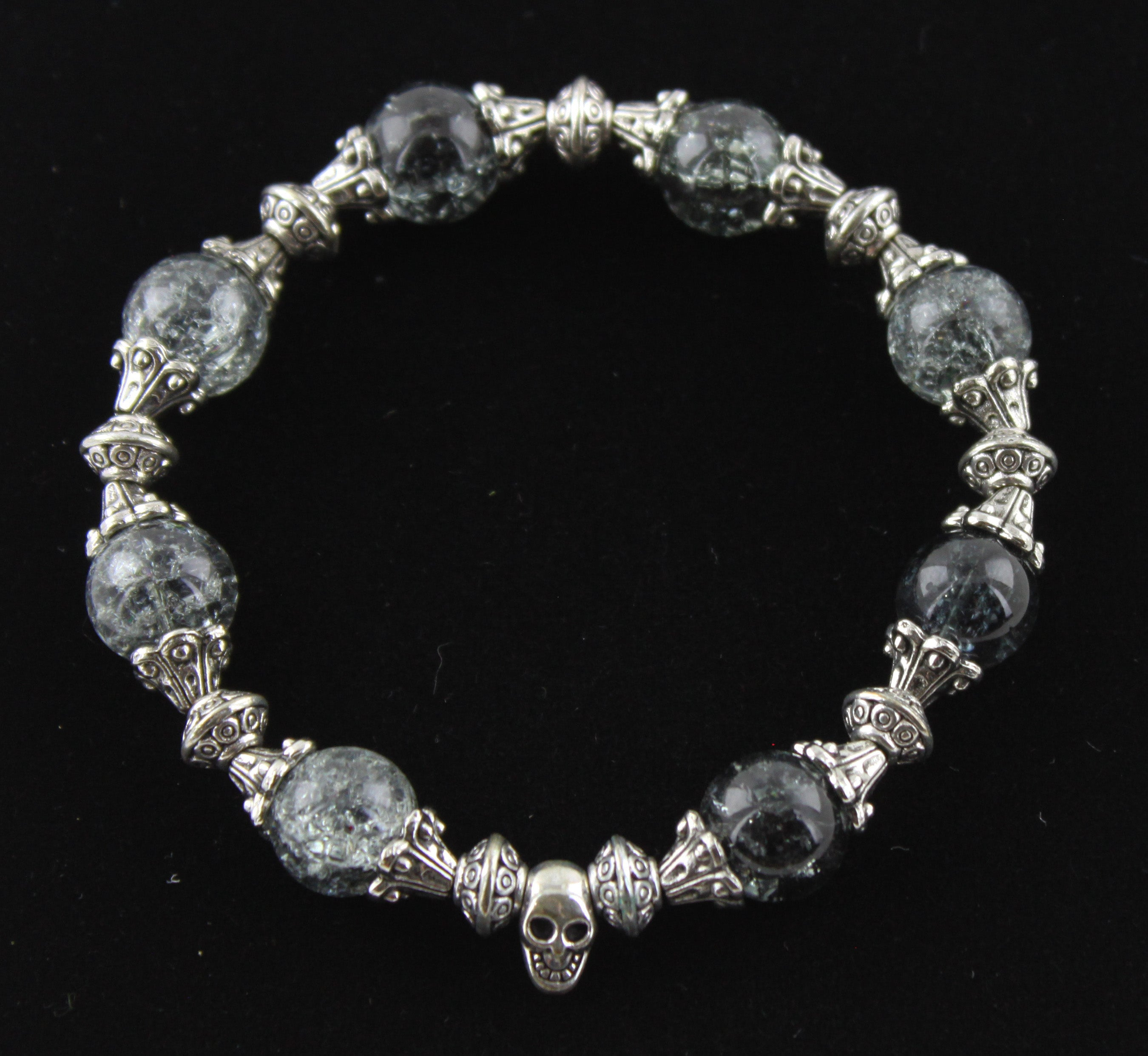 Cracked Glass & Metal Skull Bracelet