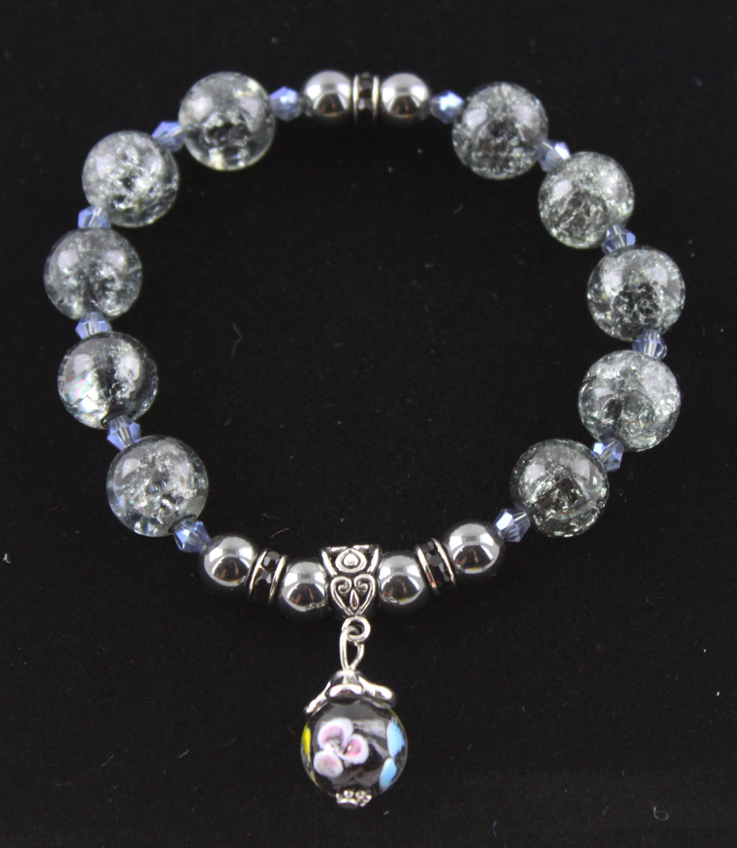 Grey Cracked Glass with a Hint of Blue Pendant Bracelet