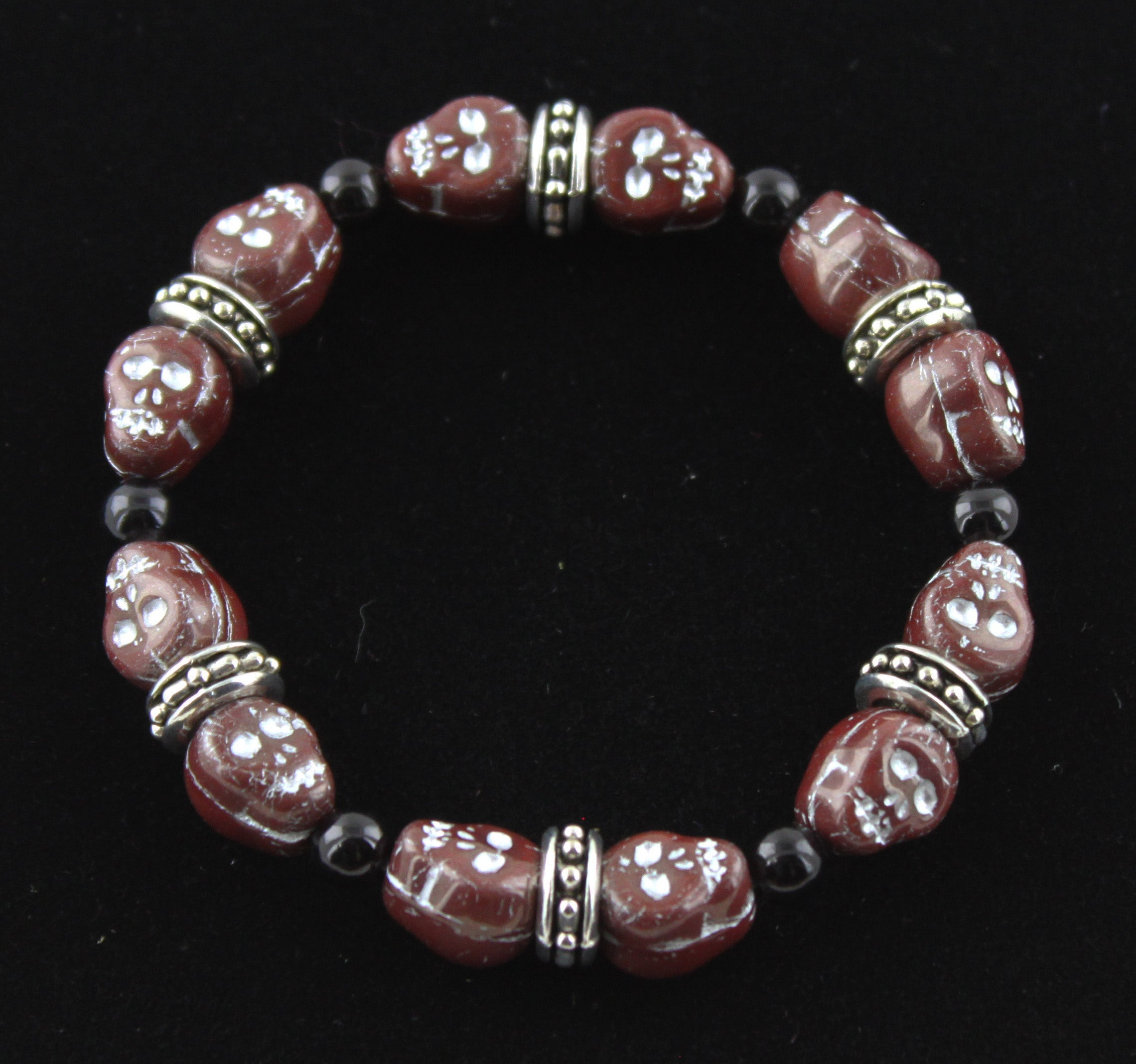 Deep Red & Black Skull Bracelet with Silver Accents