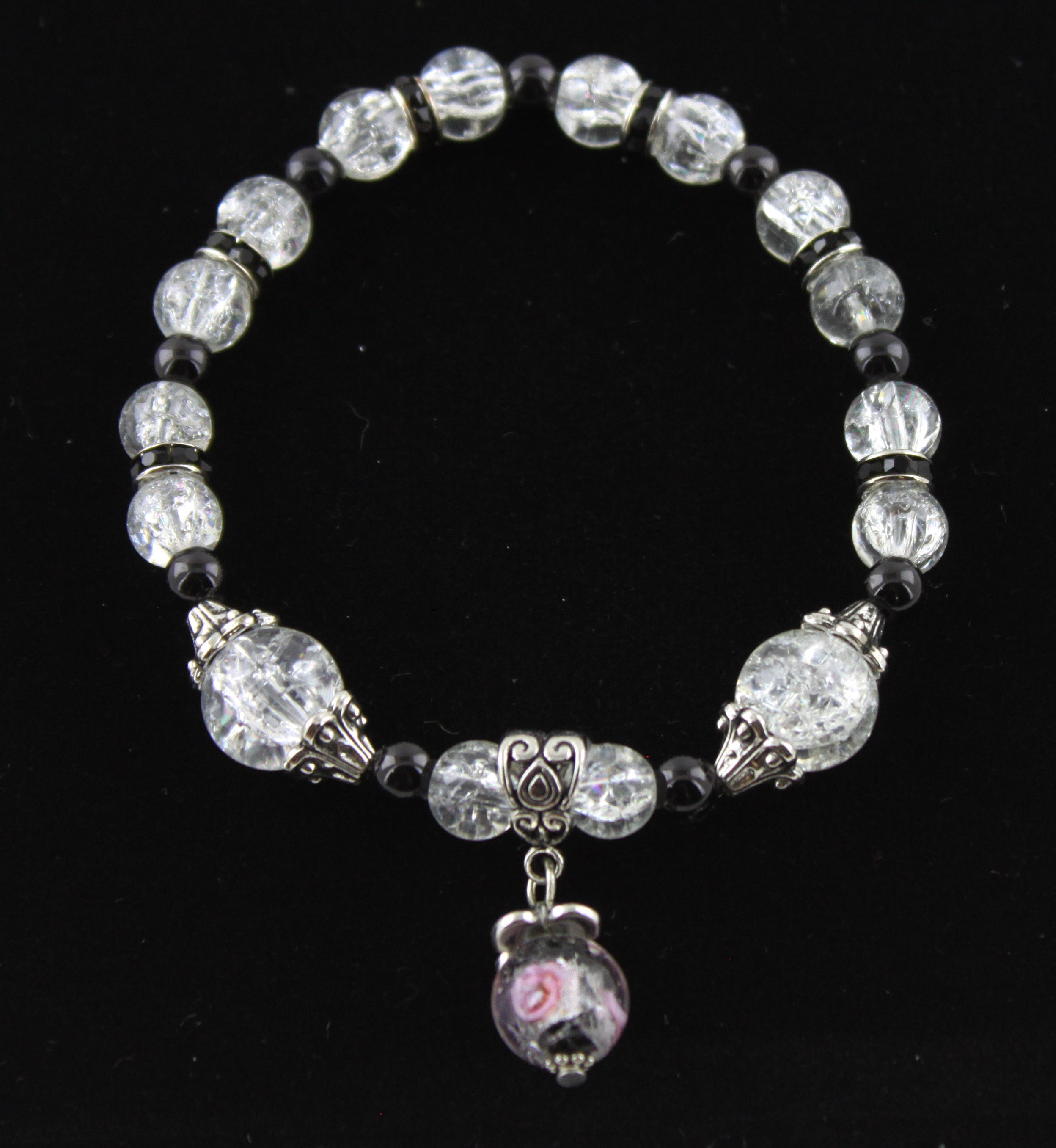 Black & White with a Touch of Pink Pendant Bracelet