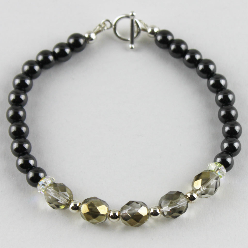 Czech Glass and Magnetic Hematite Bracelet
