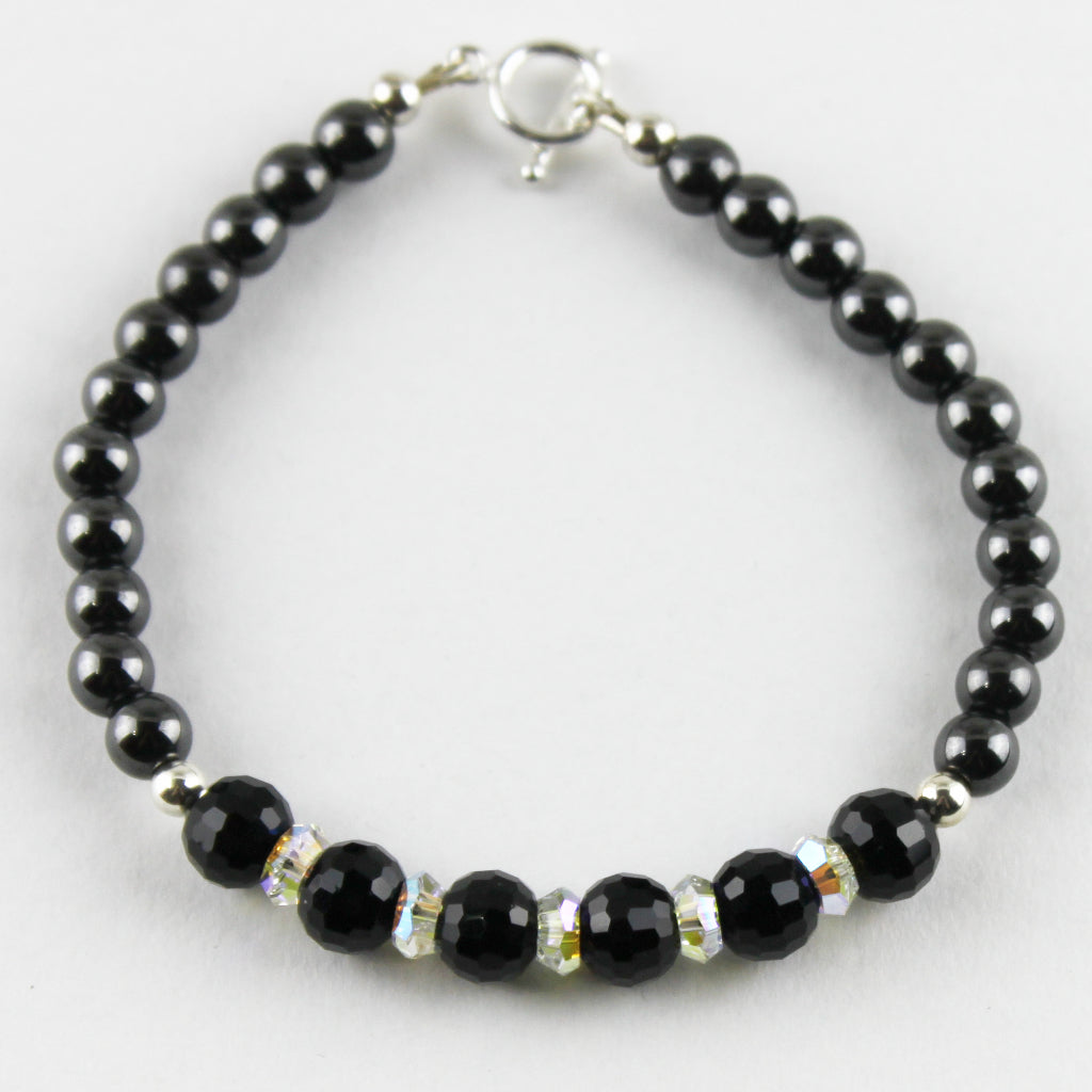 Midnight Storm Czech Glass and Magnetic Hematite Bracelet