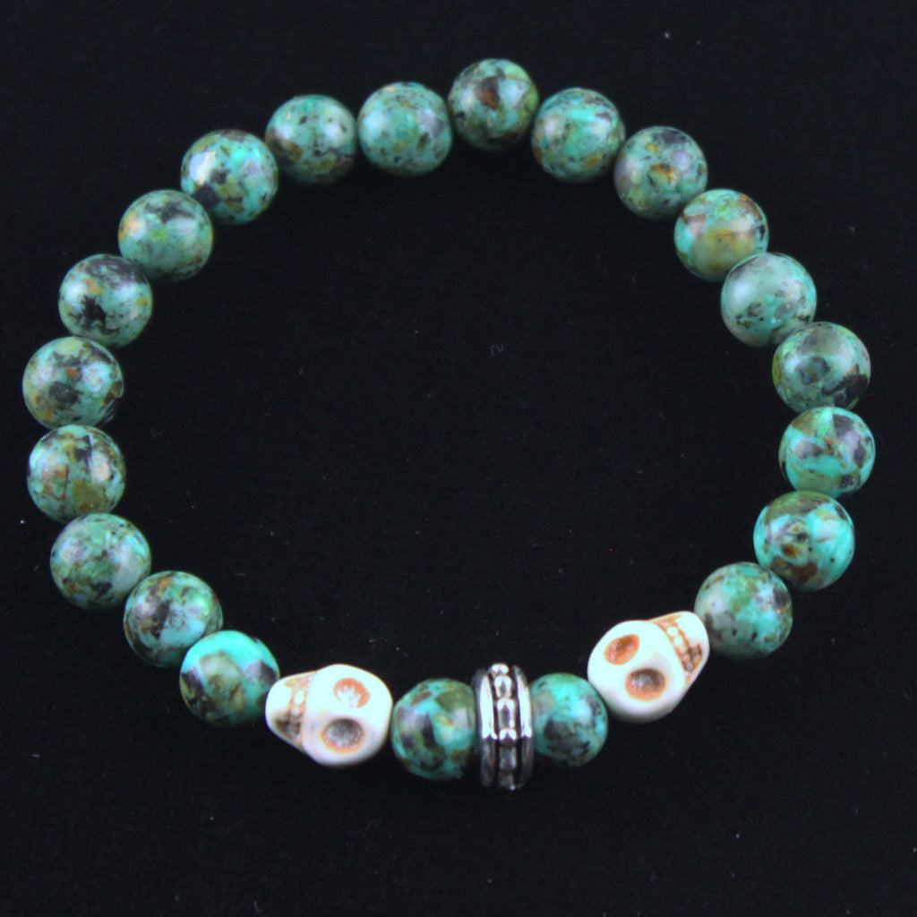 Dual Natural Skull with African Turquoise Bracelet