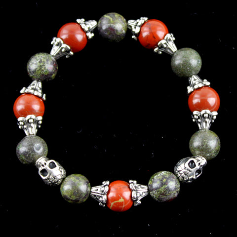Vintage Mixed Metal, Red Jasper and Dragon Blood Jasper Skull Bracelet