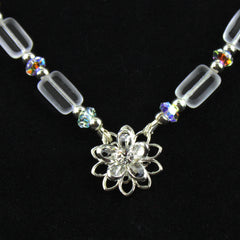 Floral Frost Swarovski Crystal and Sterling Silver Necklace