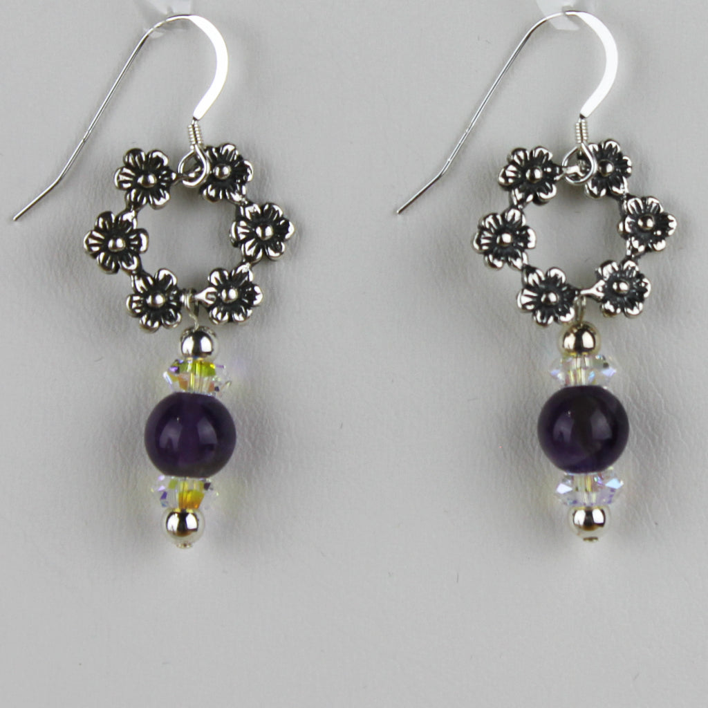 Floral Wreath With Dark Amethyst Earrings