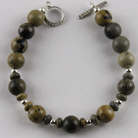 Artistic Stone and Sterling Silver Bracelet