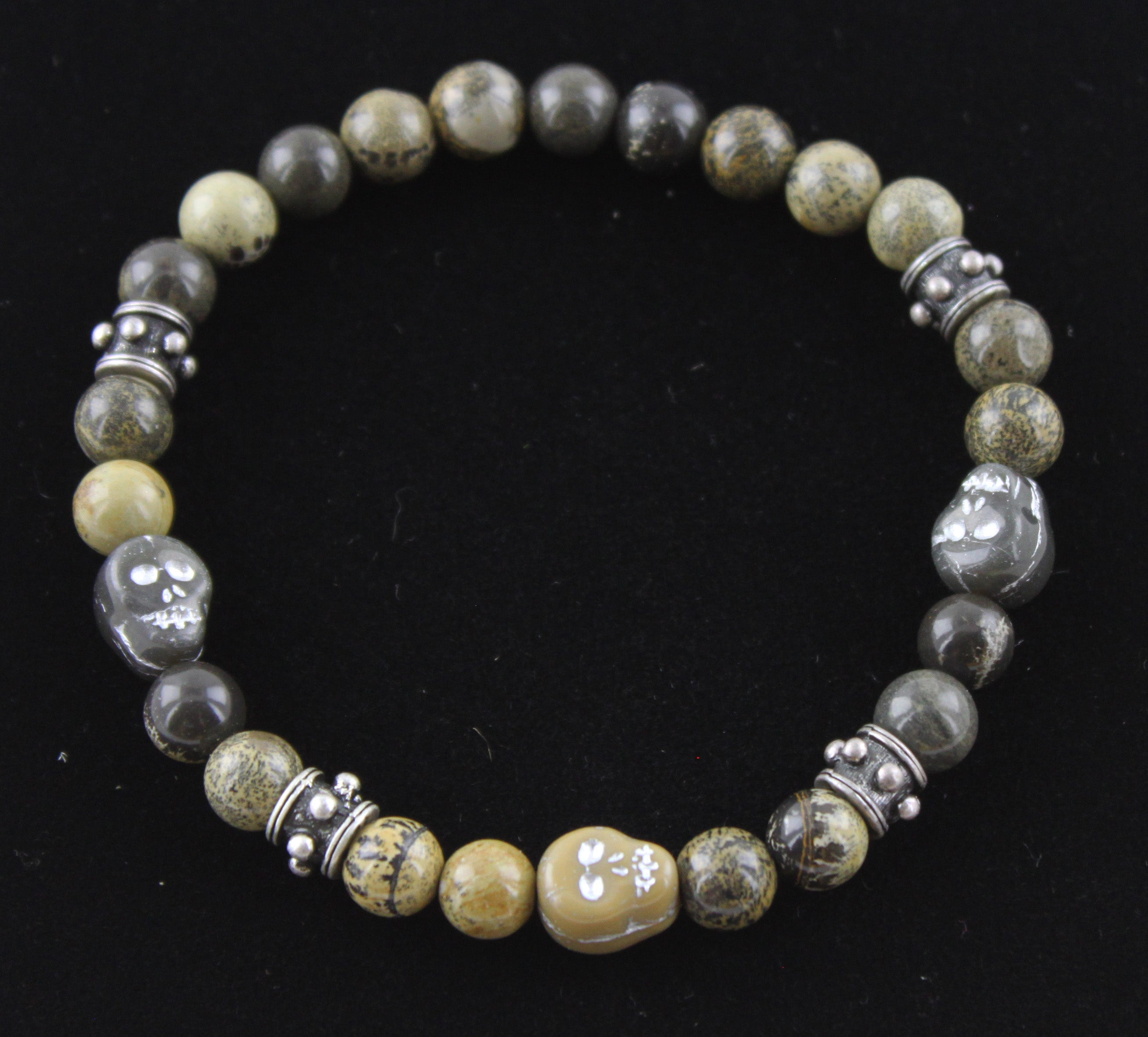 Artistic Stone with Glass Skulls Bracelet